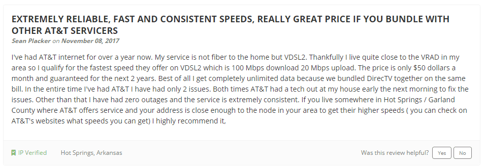 AT&T Internet Service Reviews